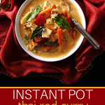 Instant Pot Thai Red Curry Pinterest pin - bowl of curry with spoon on red and gold napkin - From Paint the Kitchen Red
