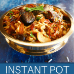 Instant Pot Lamb Biryani Pinterest pin - in brass bowl topped with cilantro - Paint the Kitchen Red