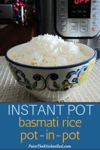 Instant Pot Rice Pot in Pot Pinterest pin - bowl of white rice - Paint the Kitchen Red