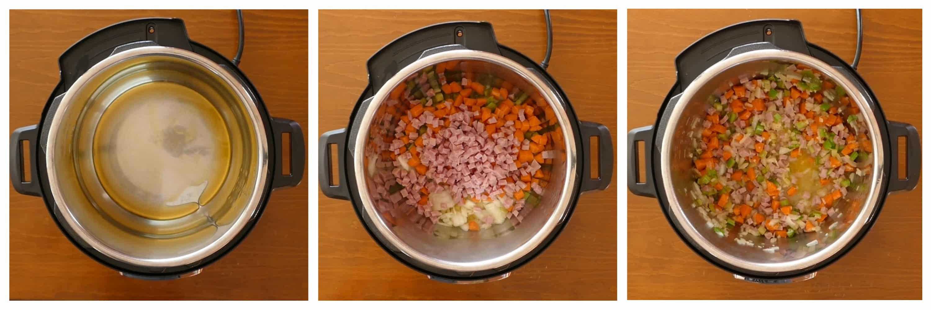 Instant Pot Italian Wedding Soup Instructions 1 - oil, vegetables and ham, sauteed and stirred - Paint the Kitchen Red