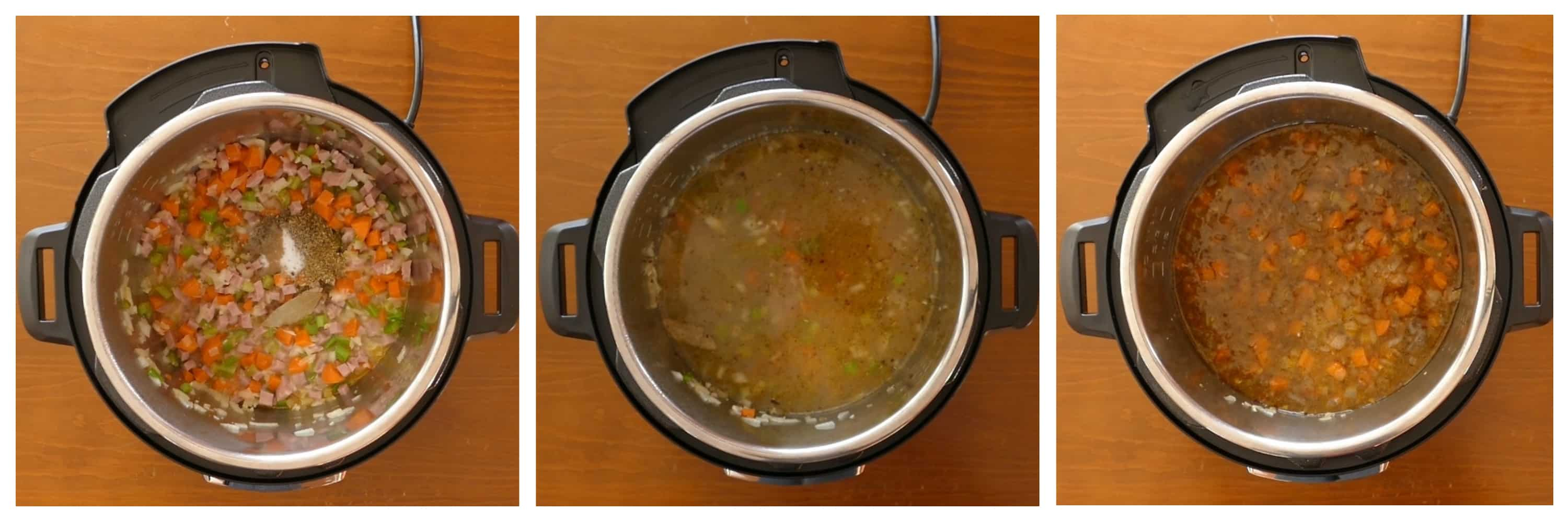 Instant Pot Italian Wedding Soup Instructions - spices, broth, stirred - Paint the Kitchen Red