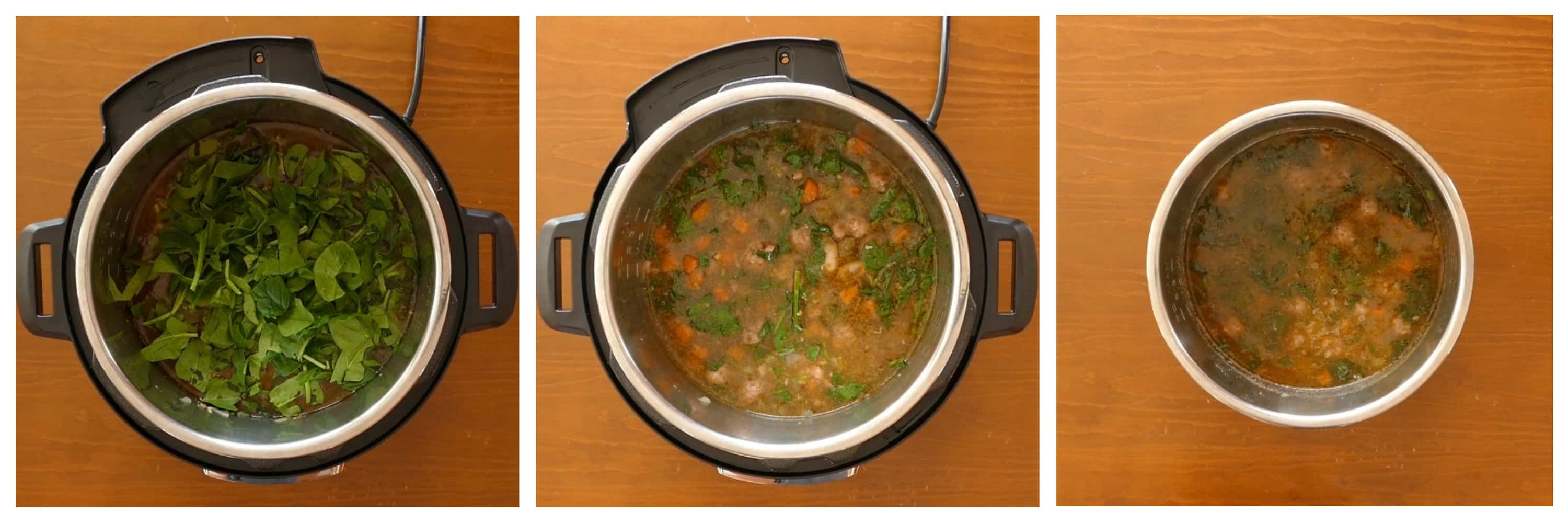 Instant Pot Italian Wedding Soup Instructions 3 - spinach, stirred, inner pot removed from base unit - Paint the Kitchen Red