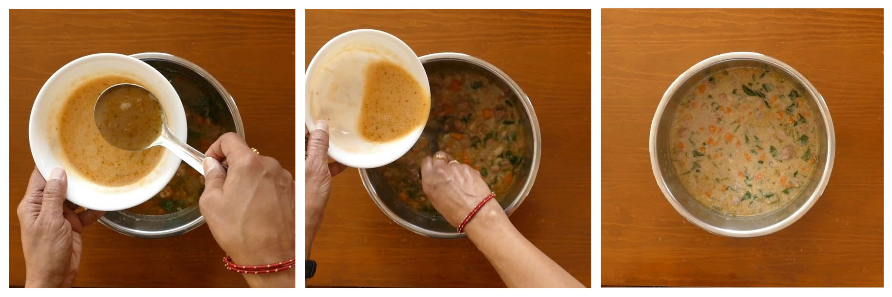 Instant Pot Italian Wedding Soup Instructions - stir broth into beaten eggs, pour egg mixture into soup in inner pot, stirred - Paint the Kitchen Red