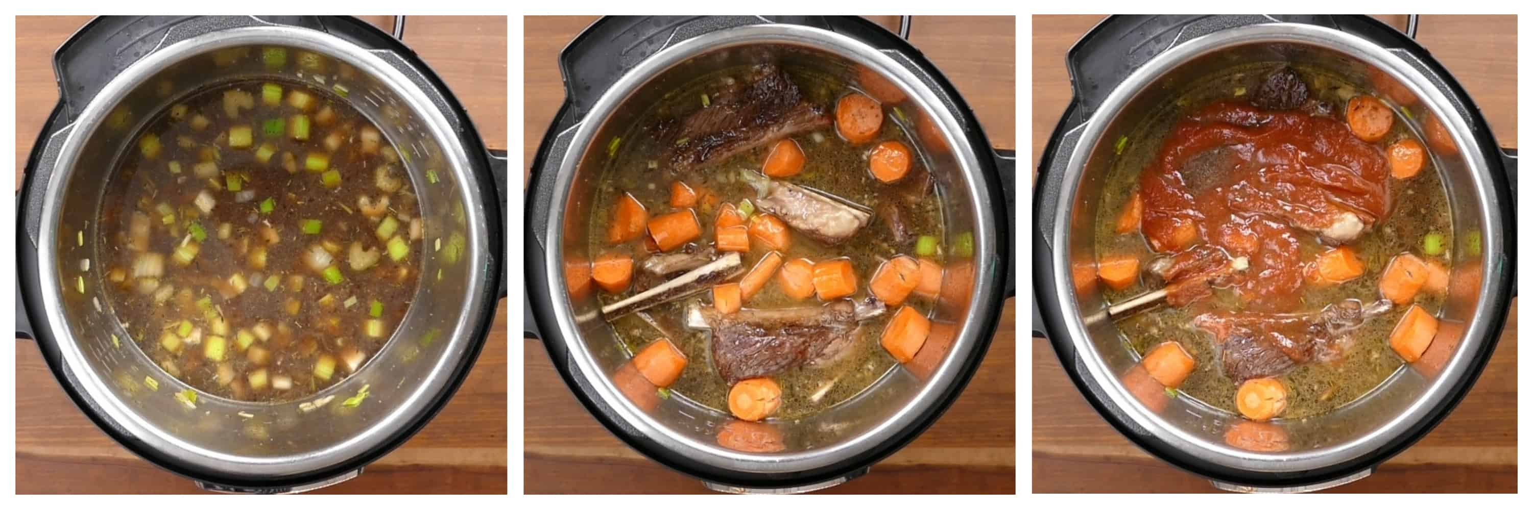 Instant Pot Short Ribs Braised in Red Wine Instructions 4 - liquids added, carrots and short ribs, tomato paste - Paint the Kitchen Red