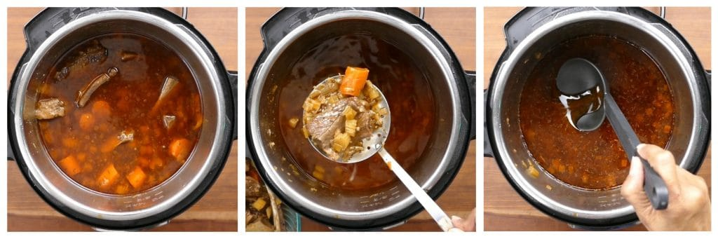 Instant Pot Short Ribs Braised in Red Wine Instructions 5 - cooked liquid and meat, remove meat, skim fat - Paint the Kitchen Red