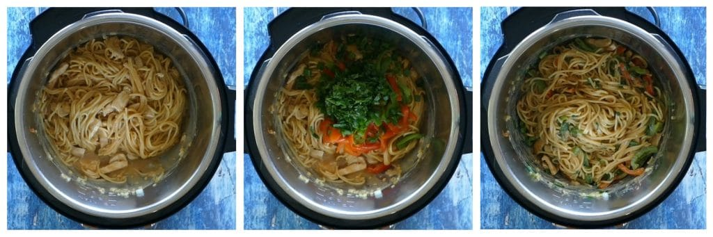 Instant Pot Thai Peanut Noodles Instructions 5 collage - cooked noodles, added veggies, stirred - Paint the Kitchen Red