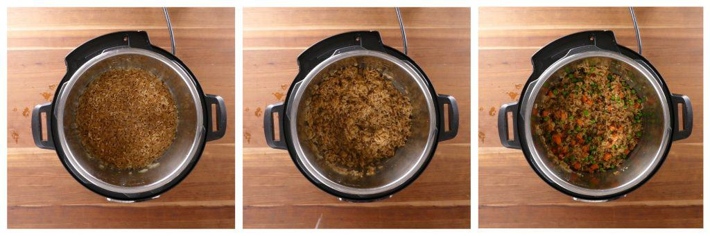 Instant Pot Brown Fried Rice Instructions 4 - cooked rice, stirred, add vegetables - Paint the Kitchen Red