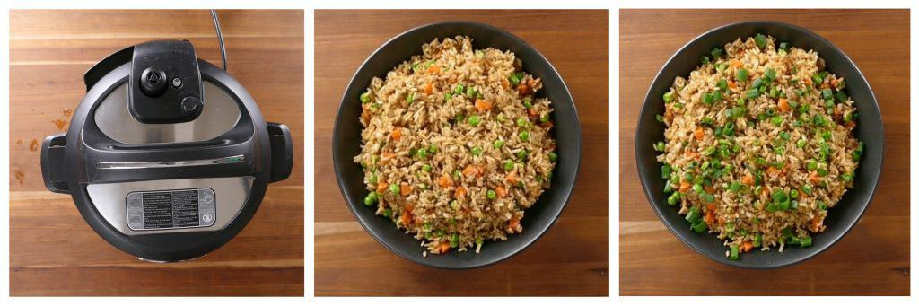 Instant Pot Brown Fried Rice Instructions 5 - covered instant pot, rice in bowl, green onions on top - Paint the Kitchen Red