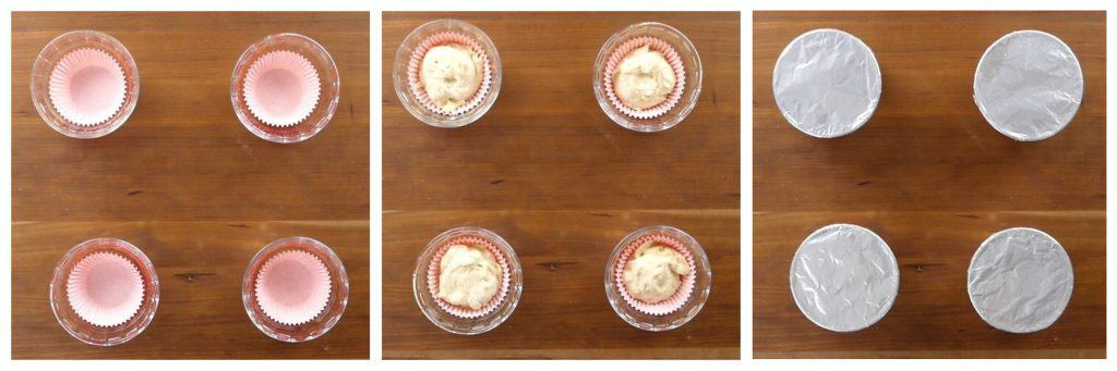 Instant Pot Cupcakes Cardamom Pound Cake Instructions 6 collage - four custard cups with red cupcake liners, batter in liners, aluminum foil covering custard cups - Paint the Kitchen Red