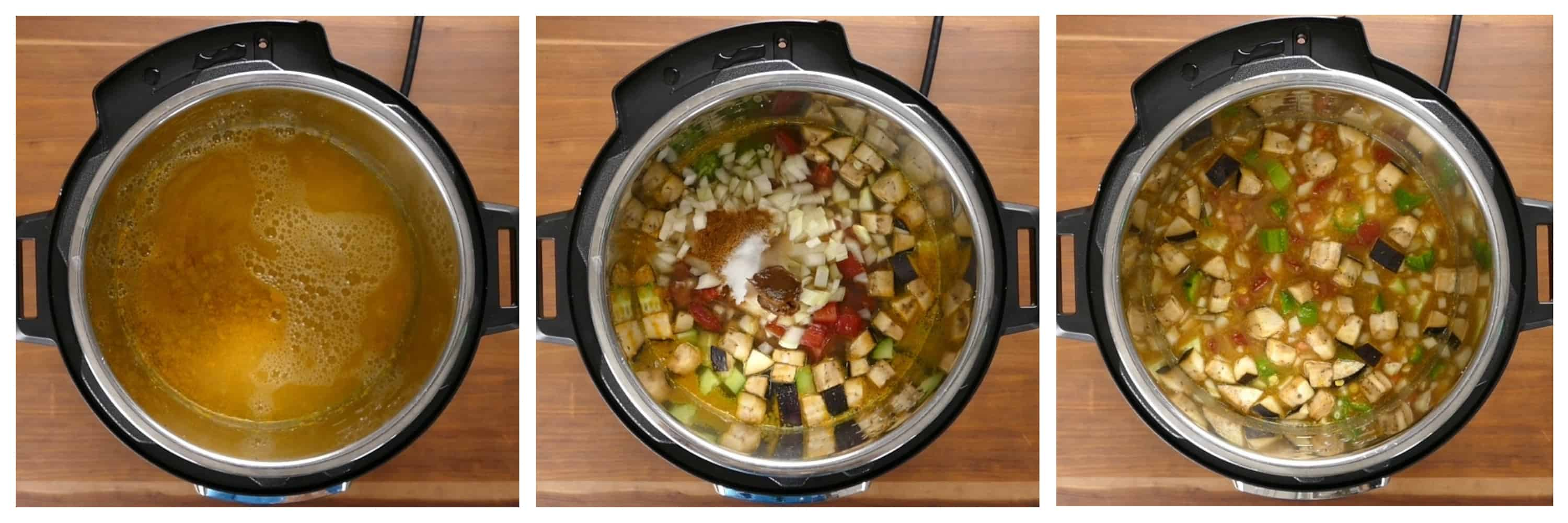Instant Pot Sambar Instructions 2 collage - cooked dal, added vegetables and spices, stirred - Paint the Kitchen Red