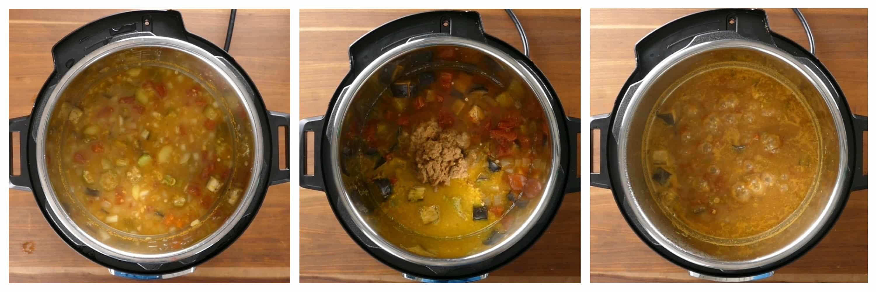 Instant Pot Sambar Instructions 5 collage - cooked sambar, added coconut mixture, boil - Paint the Kitchen Red