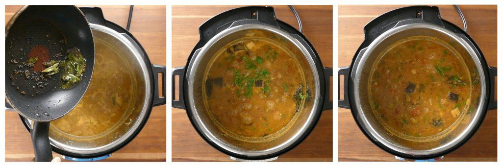 Instant Pot Sambar Instructions collage - add curry leaves and mustard to sambar, add cilantro, stir - Paint the Kitchen Red