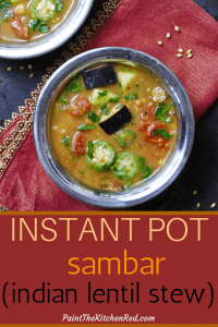 Instant Pot Sambar pinterest pin - two bowls of sambar with tomatoes, eggplant okra, garnished with cilantro - Paint the Kitchen Red