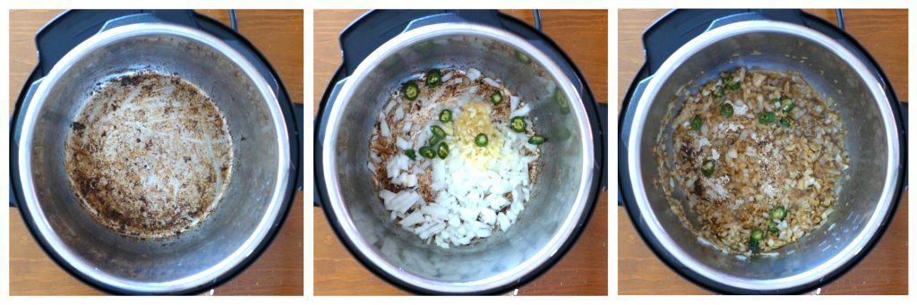 Instant Pot Beef Curry Instructions 2 collage - empty inner pot with beef removed, onions garlic ginger and jalapenos, sauteed - Paint the Kitchen Red