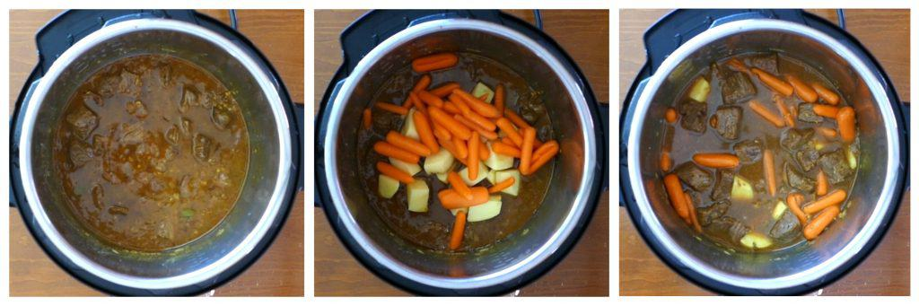 Instant Pot Beef Curry Instructions 5 collage - beef cooked, carrots and potatoes added, stirred - Paint the Kitchen Red