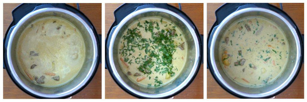 Instant Pot Beef Curry Instructions 7 collage - coconut milk cooking, cilantro added, stirred - Paint the Kitchen Red