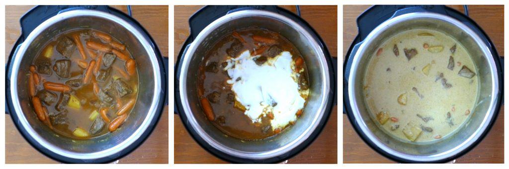Instant Pot Beef Curry Instructions 6 collage - cooked beef and vegetables, coconut milk added, stirred - Paint the Kitchen Red