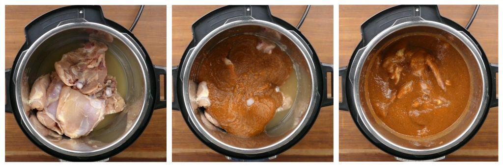 Instant Pot Chicken Tinga Instructions 2 collage - broth and chicken in inner pot, sauce added, stirred - Paint the Kitchen Red