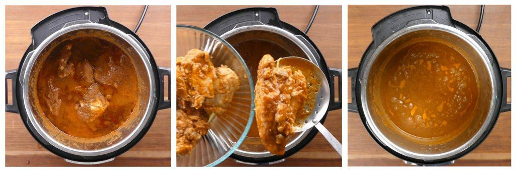 Instant Pot Chicken Tinga Instructions 3 collage - cooked chicken with sauce, remove chicken, saute sauce in inner pot - Paint the Kitchen RedInstant Pot Chicken Tinga Instructions 3 - Paint the Kitchen Red