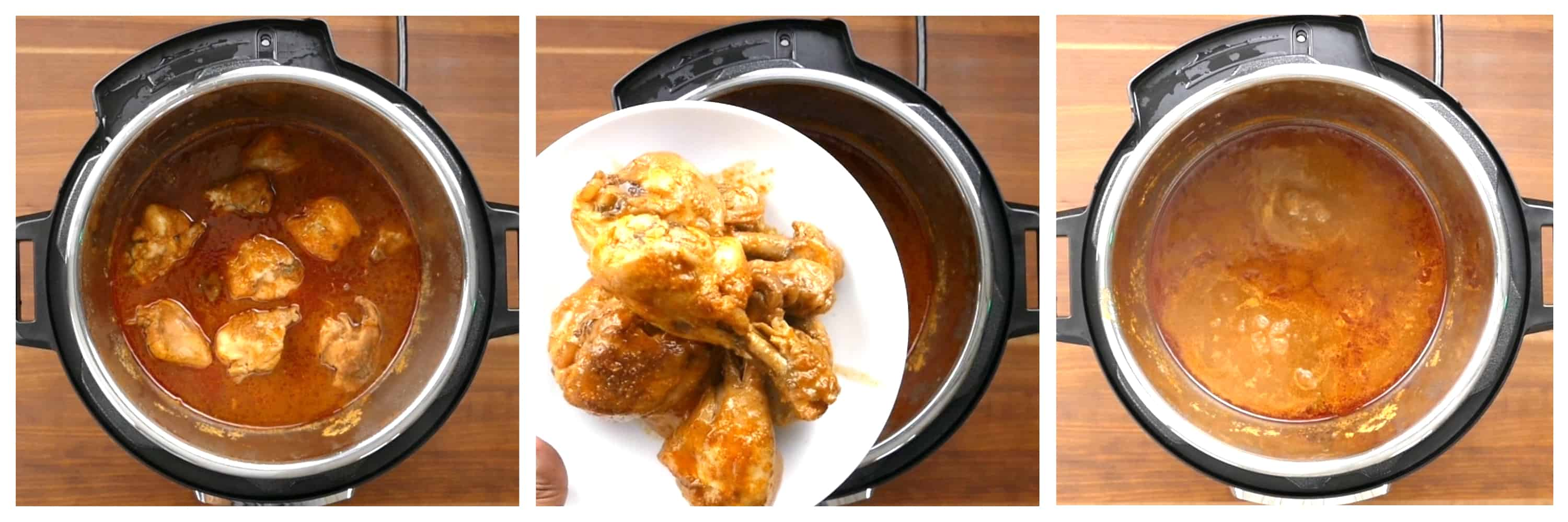 Instant Pot Korean Chicken Instructions 3 collage - cooked chicken, removed to a plate, reduce the sauce by boiling - Paint the Kitchen Red