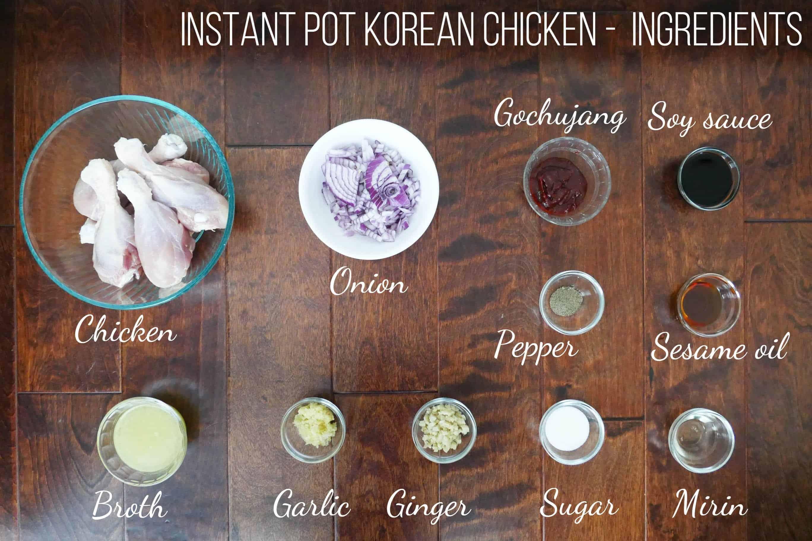 Instant Pot Korean Chicken Ingredients - chicken, onion, gochujang, soy sauce, pepper, sesame oil, broth, garlic, ginger, sugar, mirin - Paint the Kitchen Red