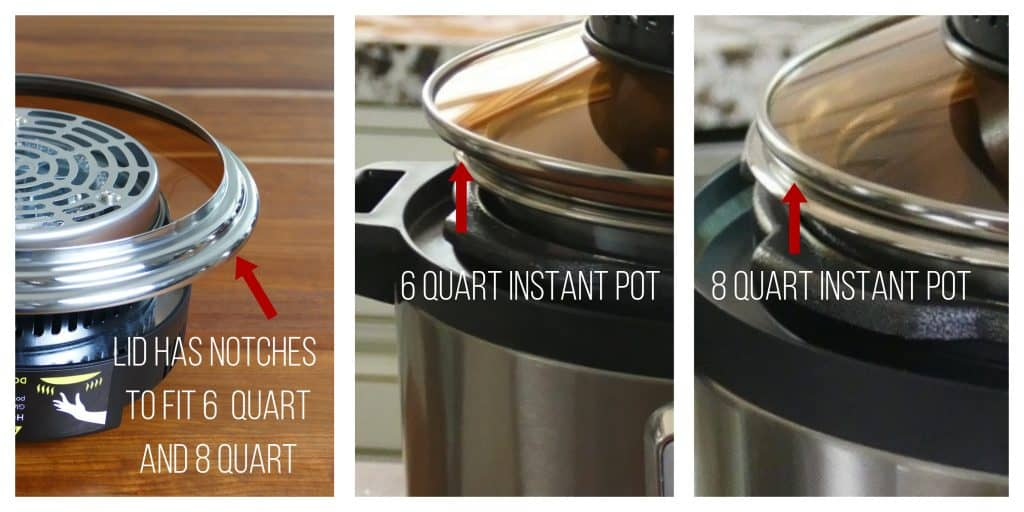 Mealthy CrispLid collage of lid and 6 and 8 quart Instant Pots showing how crisplid fits both sizes - Paint the Kitchen Red