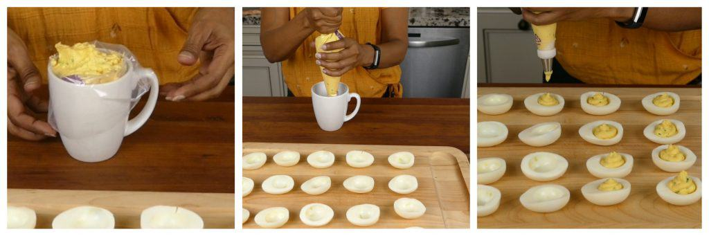 Wasabi Instant Pot Deviled Eggs Instructions collage - filling in piping bag, squeeze bag, pipe into eggs - Paint the Kitchen Red