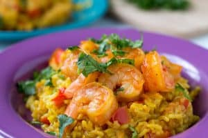 Instant Pot Shrimp Paella - rice with shrimp, topped with cilantro