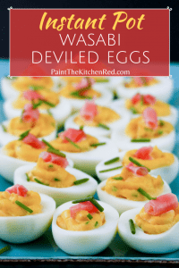 Wasabi Instant Pot Deviled Eggs with wasabi and pickled ginger on colorful blue plate pinterest pin - Paint the Kitchen Red
