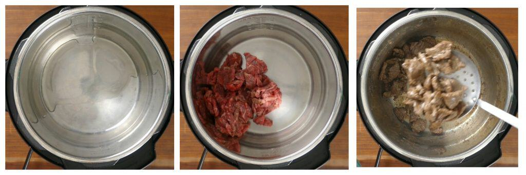 Instant Pot Lo Mein with Beef and Broccoli Instructions collage - oil in inner pot, beef, remove beef - Paint the Kitchen Red