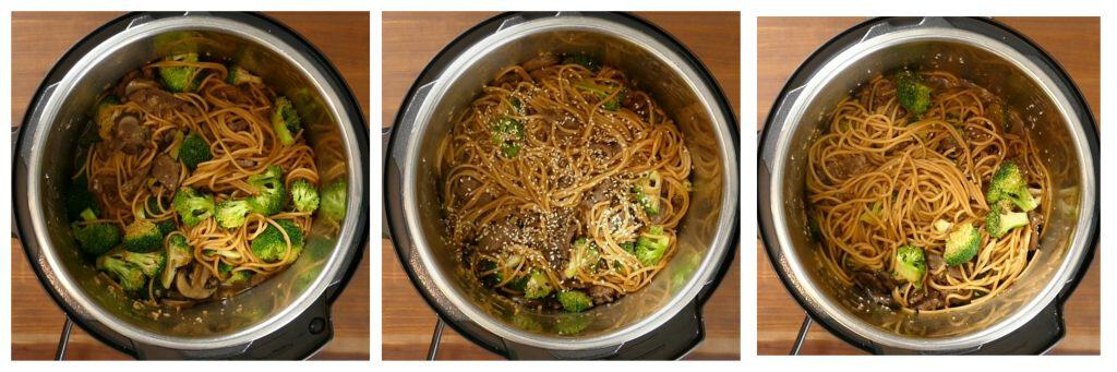 Instant Pot Lo Mein with Beef and Broccoli Instructions opened lid, sesame seeds, stirred - Paint the Kitchen Red