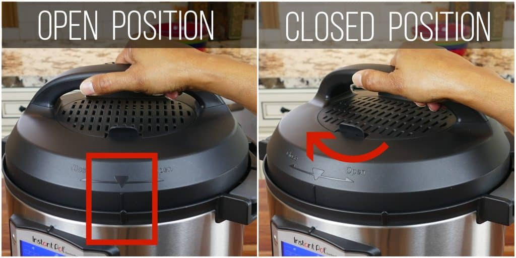 Instant Pot Duo Evo Plus Close Lid collage - arrow lines up with notch, lid turned clockwise to closed - Paint the Kitchen Red