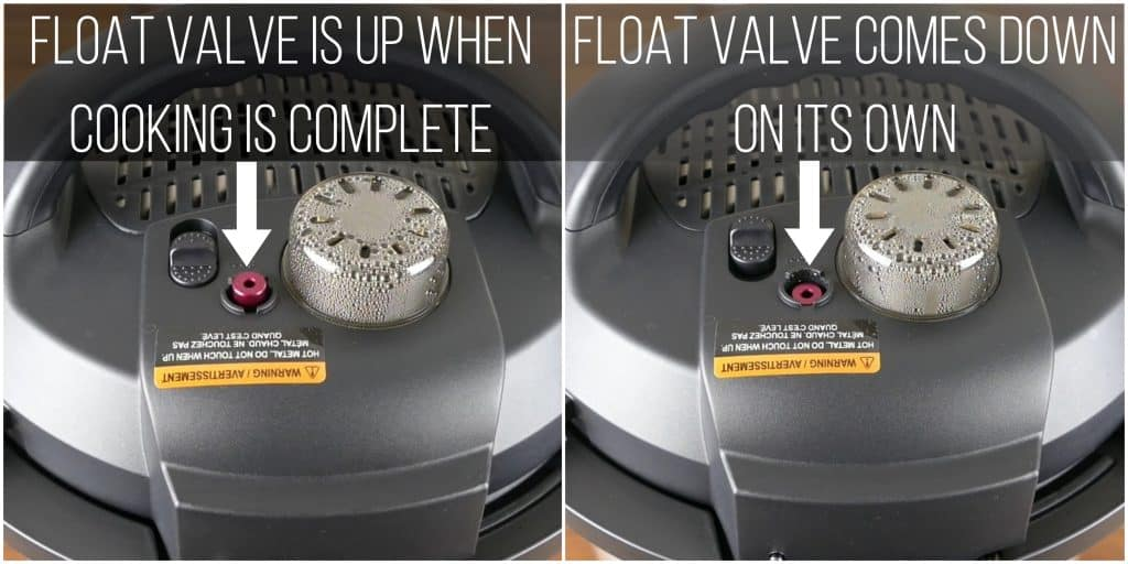 Instant Pot Duo Evo Plus Natural Release Instructions collage - float valve is up when cooking is complete, float valve comes down on its own - Paint the Kitchen Red