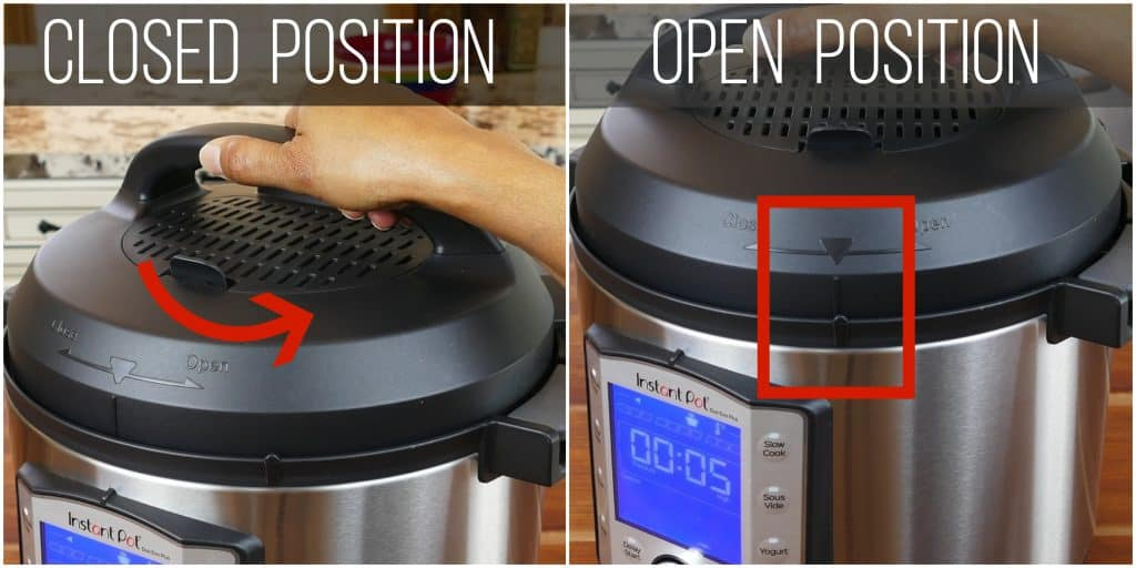 Instant Pot Duo Evo Plus Close Lid collage - lid turned counter-clockwise to closed till arrow lines up with notch - Paint the Kitchen Red