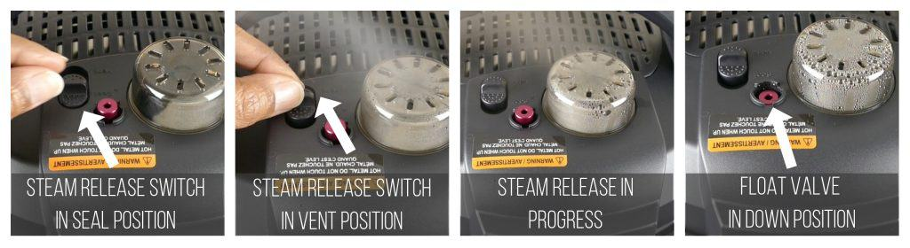Instant Pot Duo Evo Plus Quick Release Instructions collage - steam release switch in seal position, in vent position, steam release in progress, float valve in down position - Paint the Kitchen Red