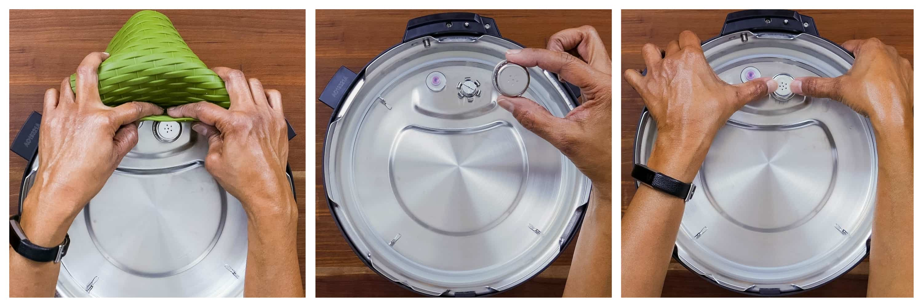 Instant Pot Duo Gourmet collage - silicone trivet to remove anti block shield, removed, replaced - Paint the Kitchen Red