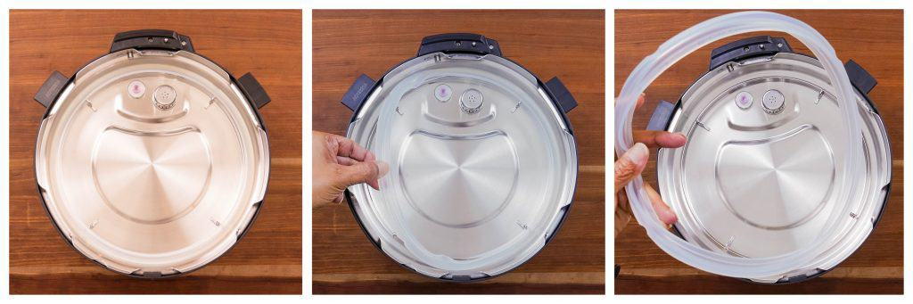 Instant Pot Duo Evo Plus collage - sealing ring in place, pull on to remove, removed completely - Paint the Kitchen Red