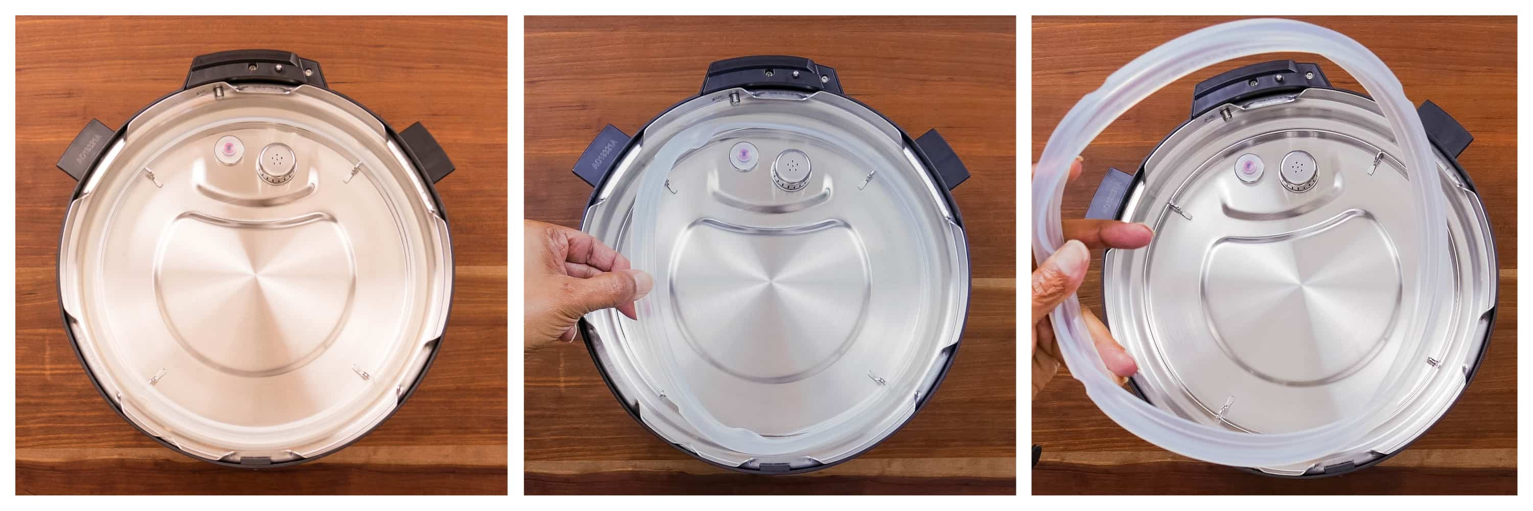 Instant Pot Duo Gourmet collage - sealing ring in place, pull on to remove, removed completely - Paint the Kitchen Red