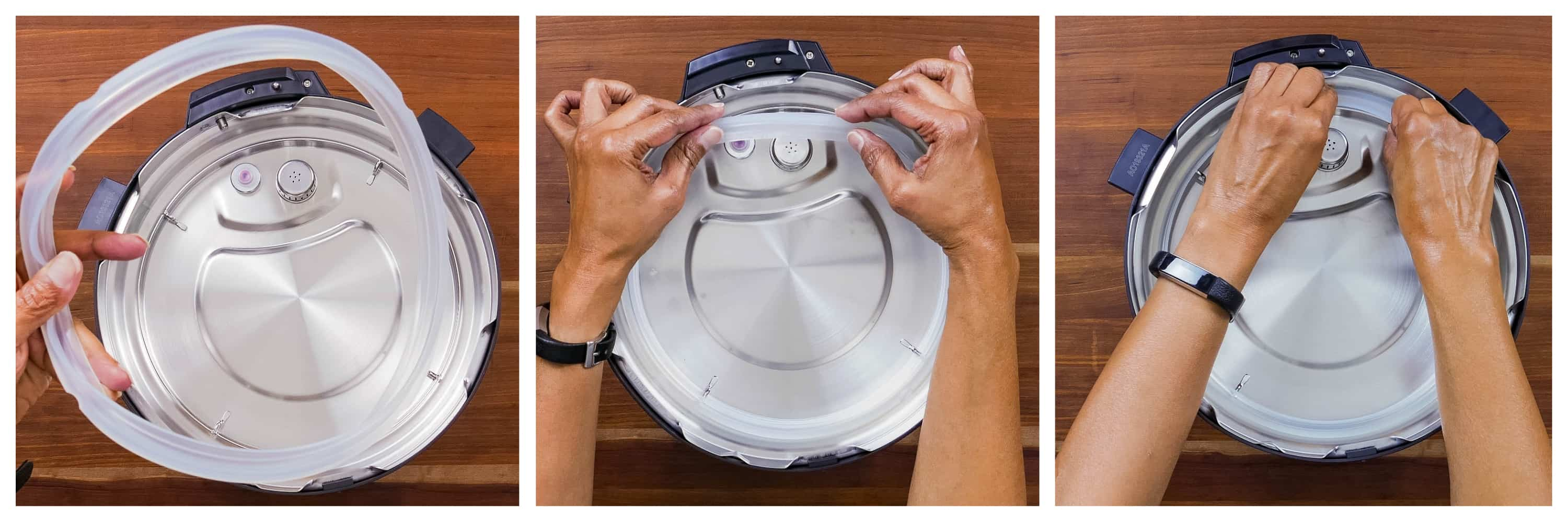 Instant Pot Duo Gourmet collage - sealing ring is out, sealing ring put onto rack, pushed in - Paint the Kitchen Red