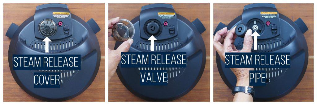 Instant Pot Duo Evo Plus collage - steam release cover, removed, steam release valve, removed, steam release pipe - Paint the Kitchen Red