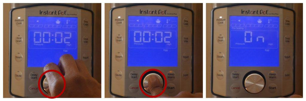 Instant Pot Duo Evo Plus Egg function instructions collage - turn knob to 00:02, press knob to select, display changes to On - Paint the Kitchen Red