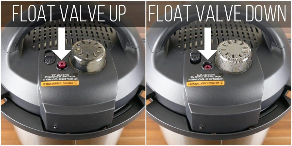 Instant Pot Duo Evo Plus Water Test Instructions collage - float valve up and down - Paint the Kitchen Red