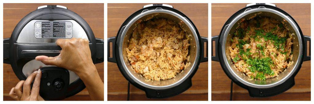 Instant Pot Jambalaya Instruction collage - close lid, lid opened, add cilantro - Paint the Kitchen Red