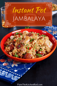 Instant Pot Jambalaya Pinterest pin - orange bowl with shrimp, sausage and rice - Paint the Kitchen Red