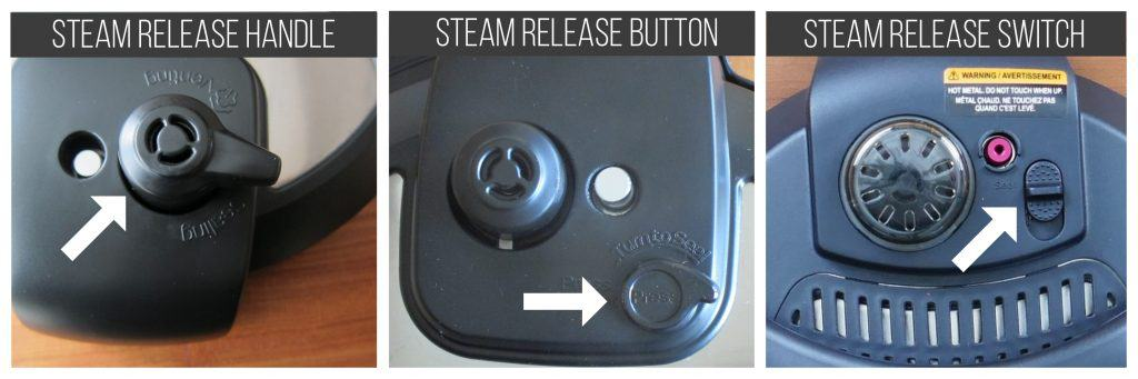 Instant Pot steam release handle, button and switch collage - Paint the Kitchen Red
