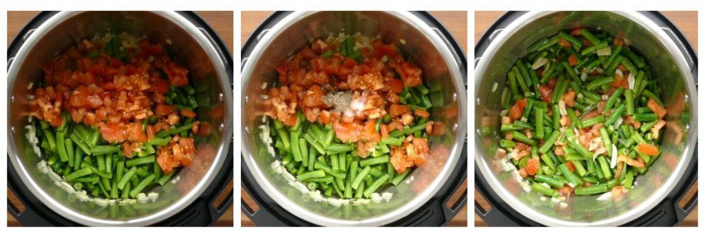 Instant Pot Green Beans Middle Eastern instructions collage 2 - tomatoes on beans, spices, all stirred - Paint the Kitchen Red