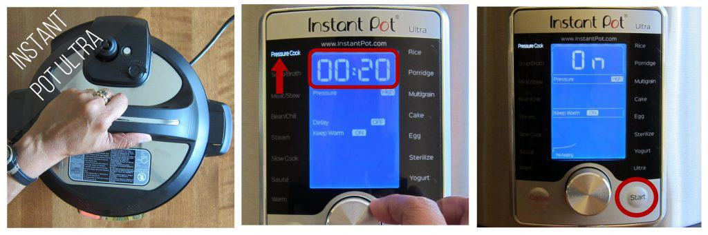 Instant Pot Ultra pressure cook 20 minutes collage - close Instant Pot Ultra, set time to 00:020 and select Pressure Cook, press start - Paint the Kitchen Red