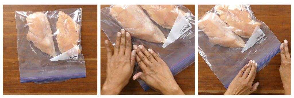 Instant Pot sous vide ziploc collage - 2 pieces of chicken in ziploc, air being pressed out, zip to close- Paint the Kitchen Red