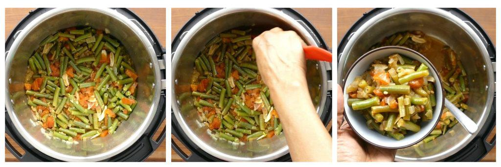 Instant Pot Green Beans Middle Eastern instructions collage 2 - cooked beans, stirred, served in a bowl - Paint the Kitchen Red.jpg