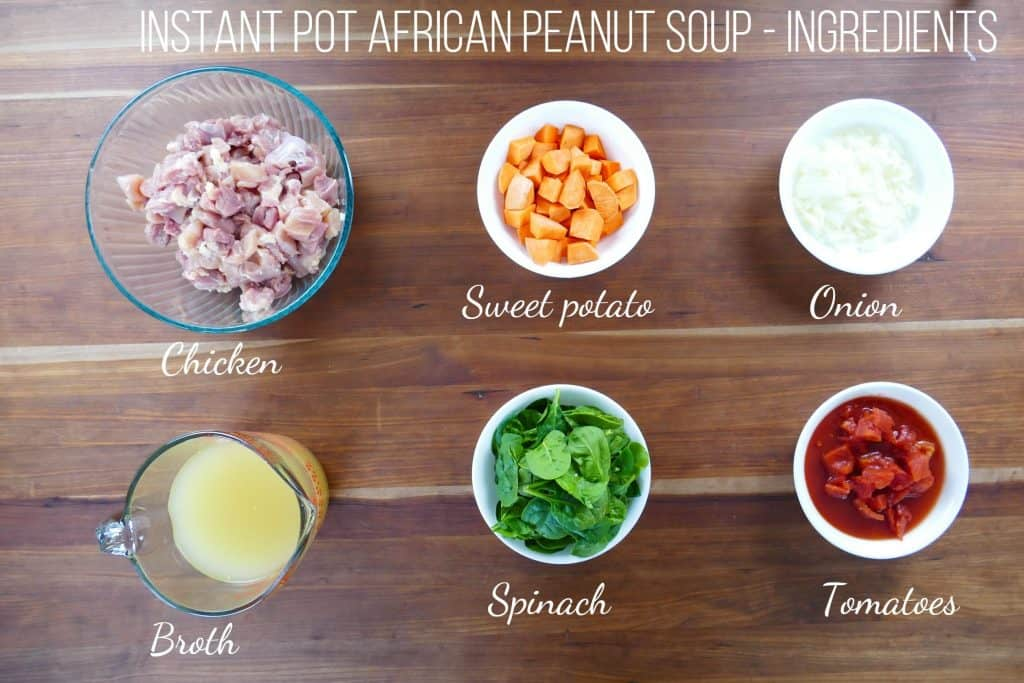 Instant Pot African Peanut Soup Ingredients - chicken, sweet potato, onion, broth, spinach, tomatoes